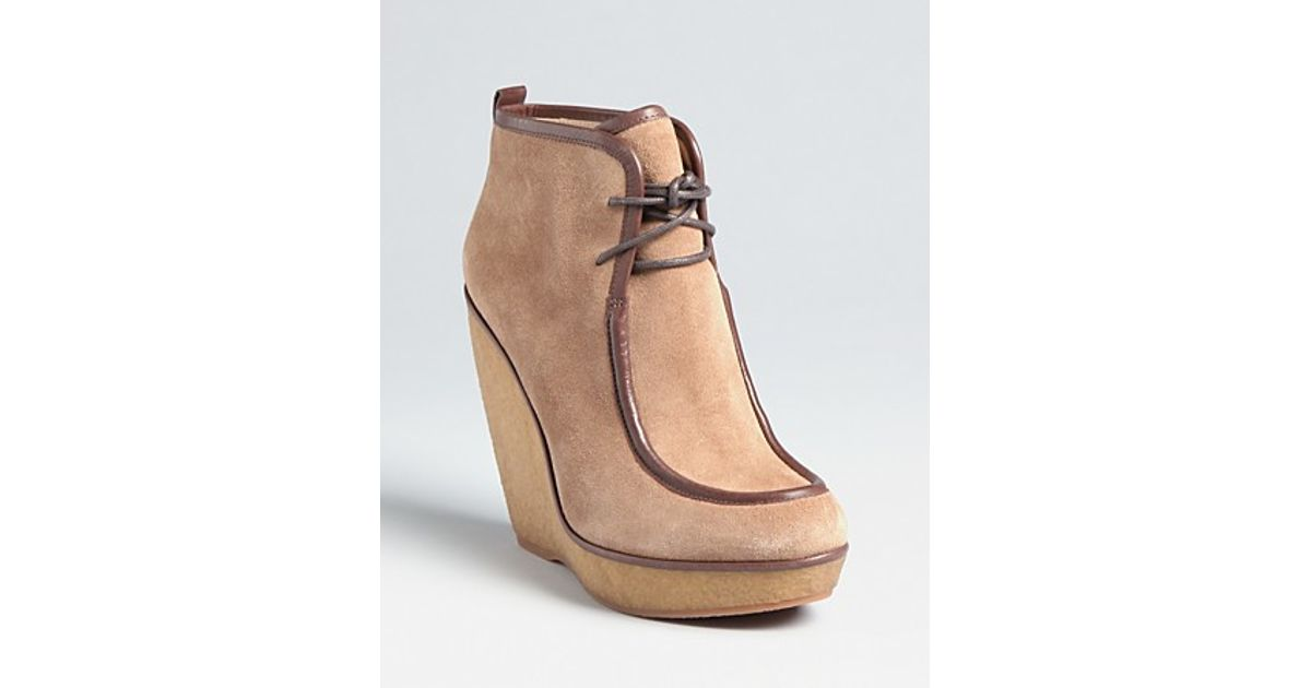 6d2895adddf3 Lyst Michael Kors Lace Up Wedge Booties Evans In Natural. Details About New  Women Micro Suede ...