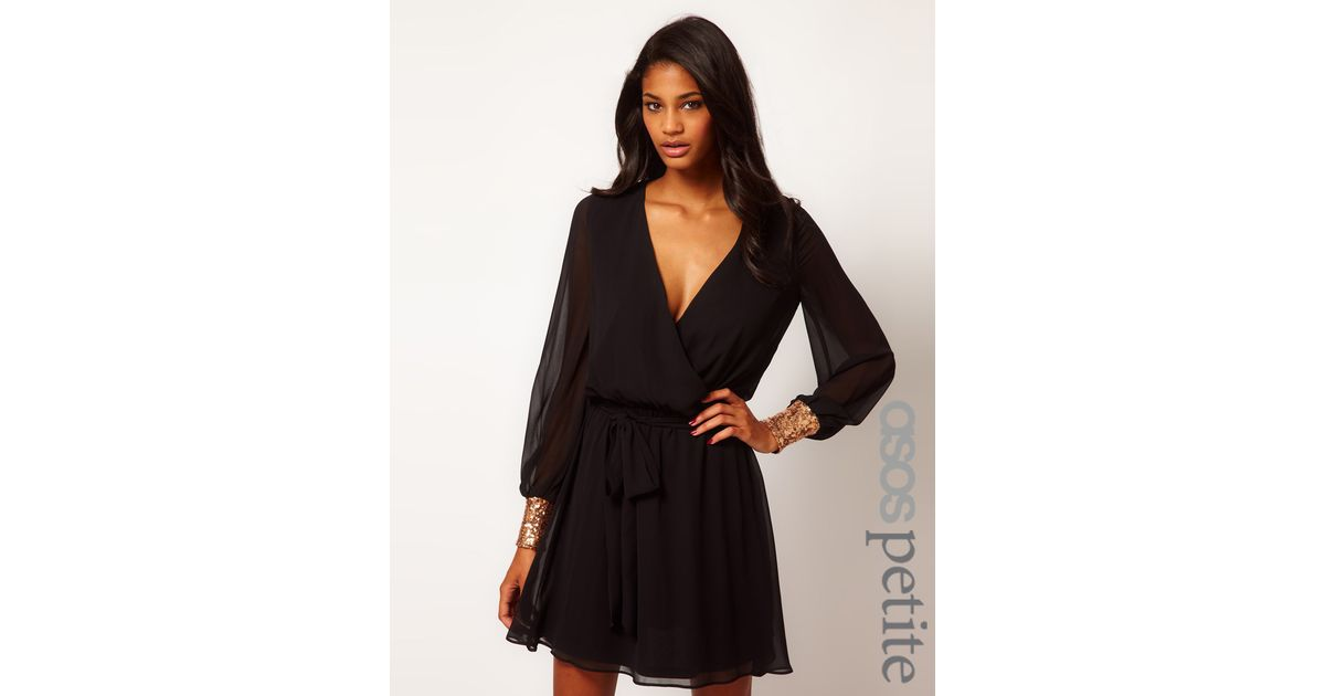 Lyst Asos Petite Wrap Dress With Sequin Cuffs In Black