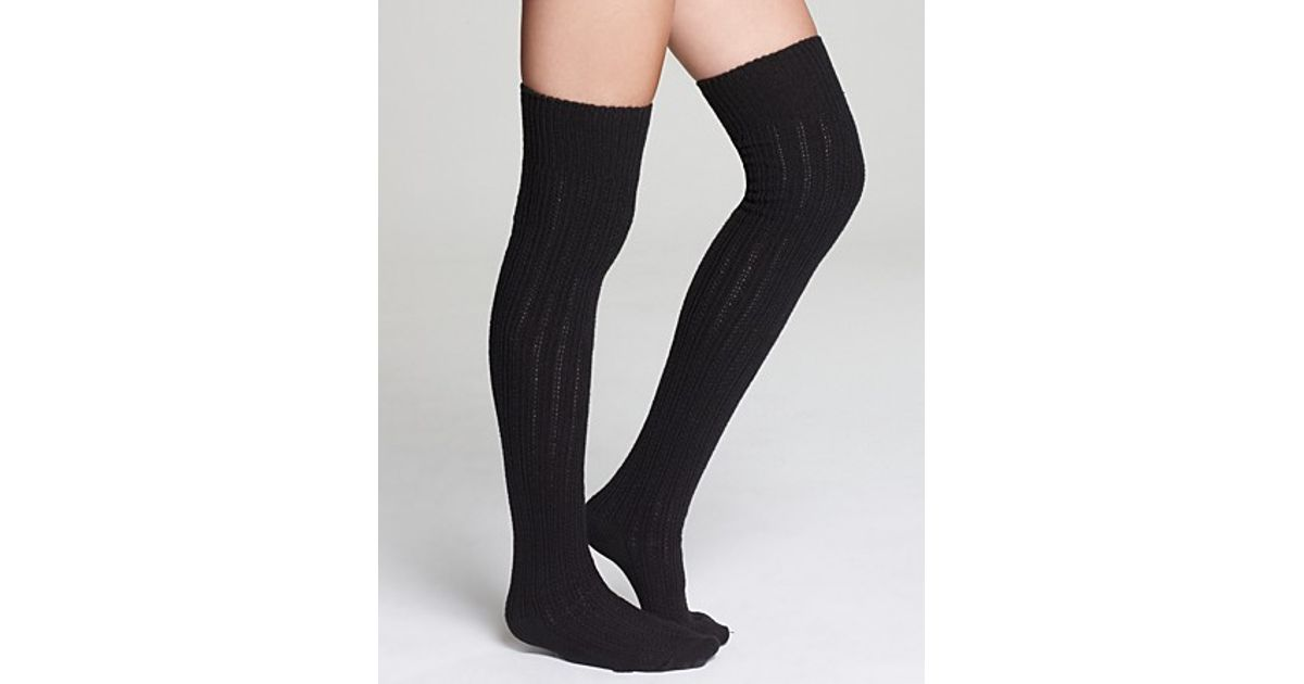 a10124412d2 Hue Ribbed Over The Knee Socks in Black - Lyst
