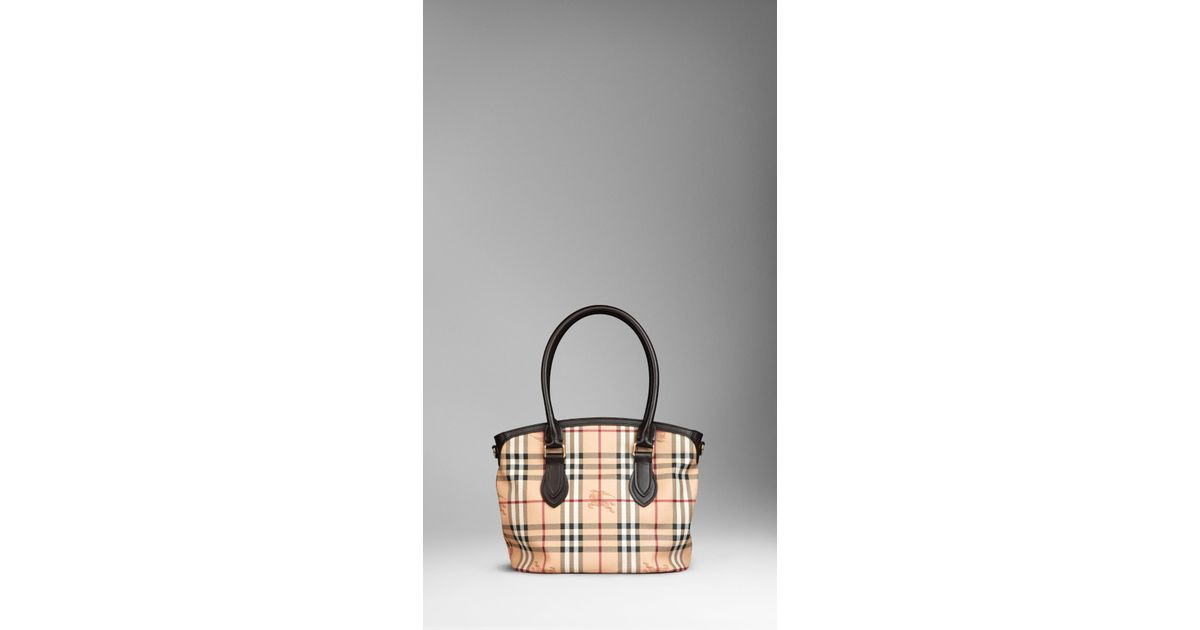 ccba678e43f7 Lyst - Burberry Small Haymarket Check Tote Bag in Natural