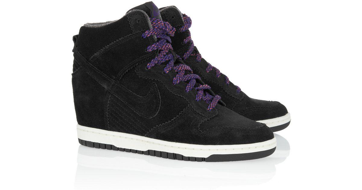 Lyst - Nike Dunk Sky Hi Suede Wedge Sneakers in Black f221fe98904a