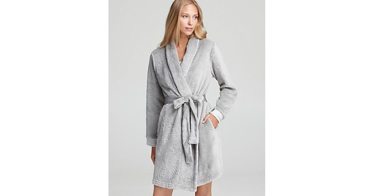 Lyst - Midnight By Carole Hochman Into The Night Embossed Robe in Gray