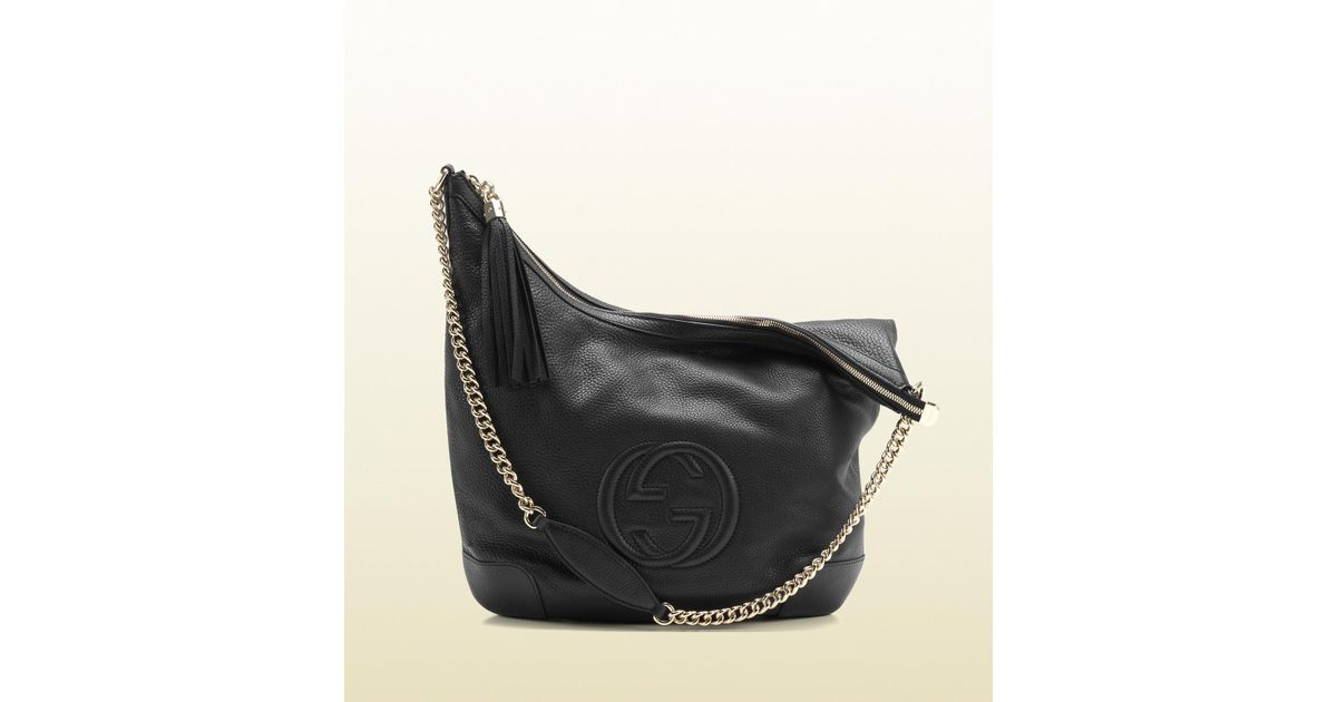77e47b069c4 Lyst - Gucci Soho Black Leather Shoulder Bag with Chain Strap in Black
