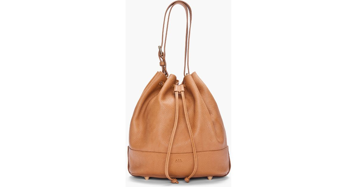 Lyst - A.P.C. Brown Pebbled Leather Bucket Bag in Brown cf1222e02403b