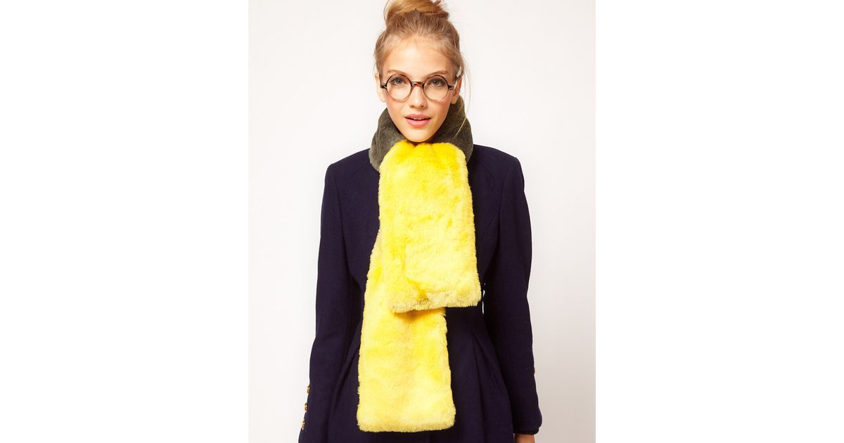 29692a767 ASOS Ombre Faux Fur Scarf in Yellow - Lyst
