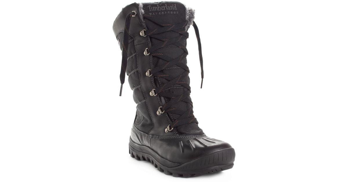 fce1f6de396 Lyst - Timberland Mount Holly Duck Fauxfur Boots in Black