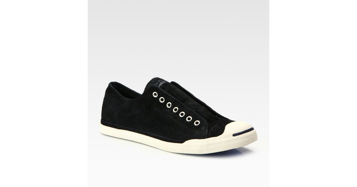84309e929e02 Lyst - Converse Jack Purcell Burnished Suede Slip-On Sneakers in Black for  Men