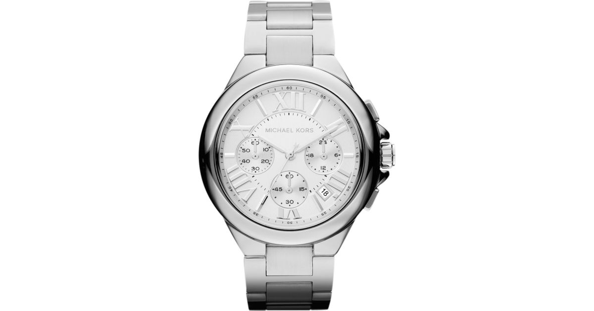 23b71c035f4e Lyst - Michael Kors Midsize Silver Color Stainless Steel Camille  Chronograph Watch in Metallic for Men