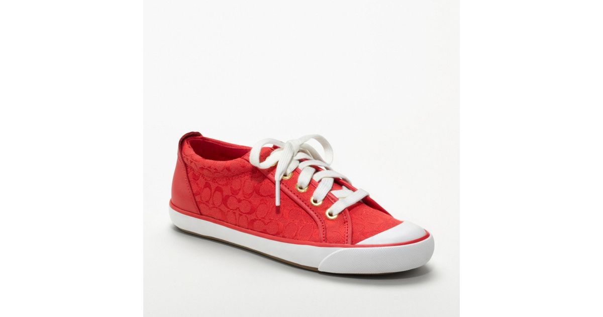 red coach sneakers