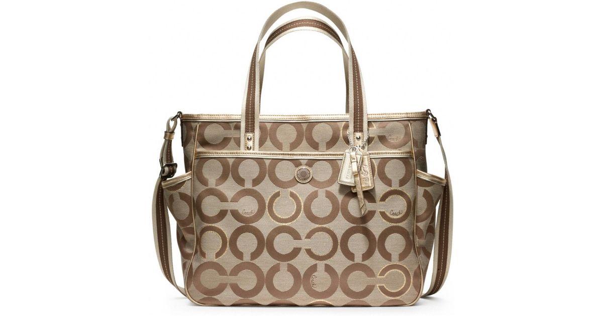 ... sale lyst coach baby bag op art metallic outline tote in metallic dcb28  22314 6b39224bbc7cc