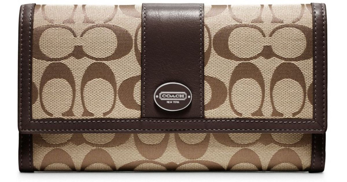 fccb4da39436 ... cheapest lyst coach legacy signature checkbook wallet in brown cad1d  bcab2 ...