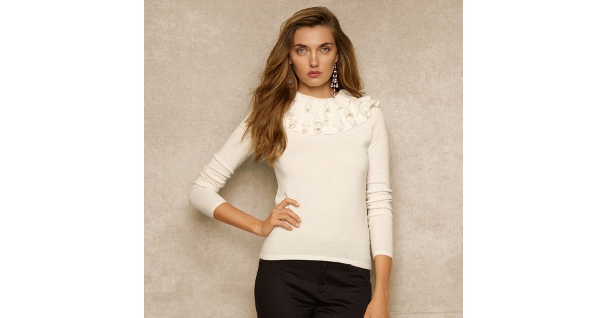ac4f0a390 Ralph Lauren Blue Label Ruffledneck Cashmere Sweater in White - Lyst