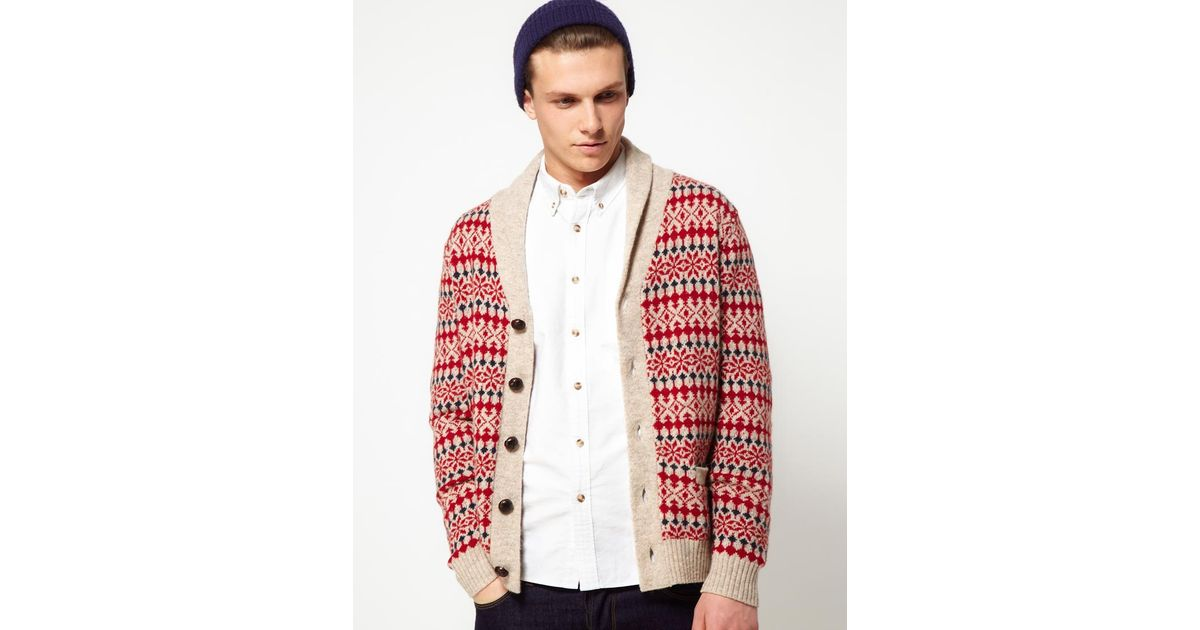 Lyst - Hartford Cardigan with Fairisle Pattern in Red for Men