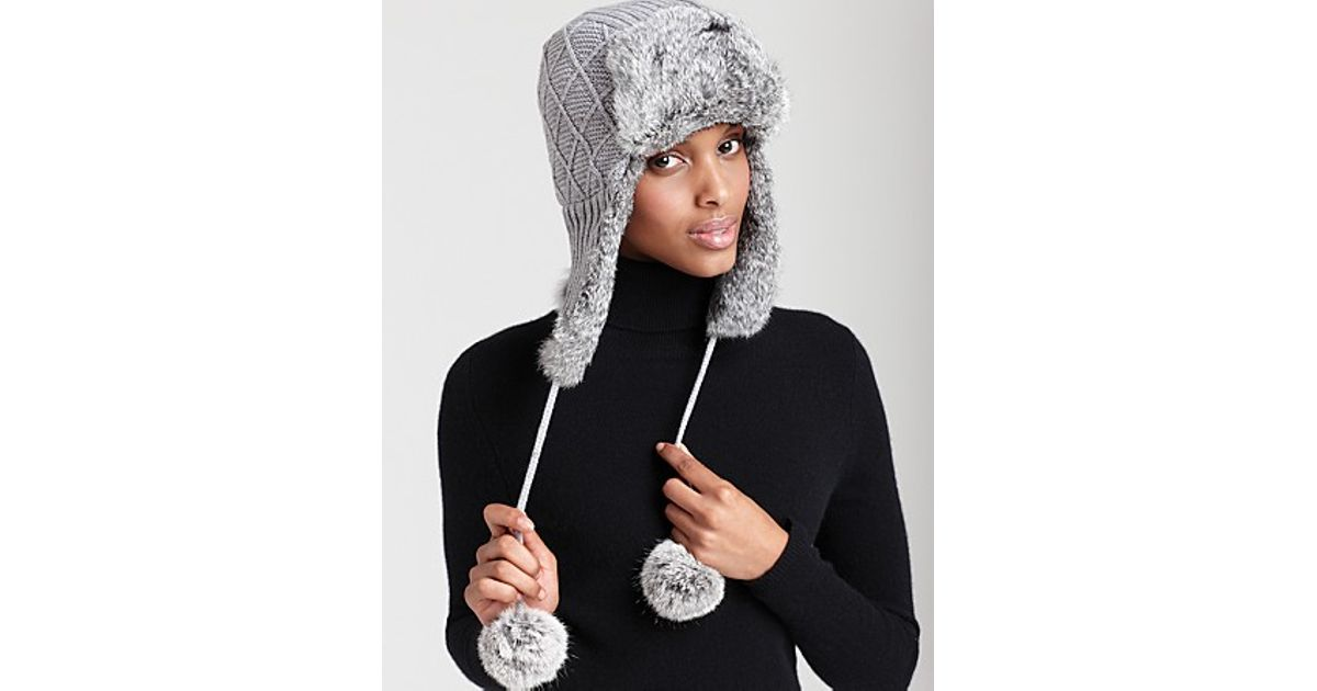 1f5cc82acf2 Surell Knit Aviator Hat in Gray - Lyst