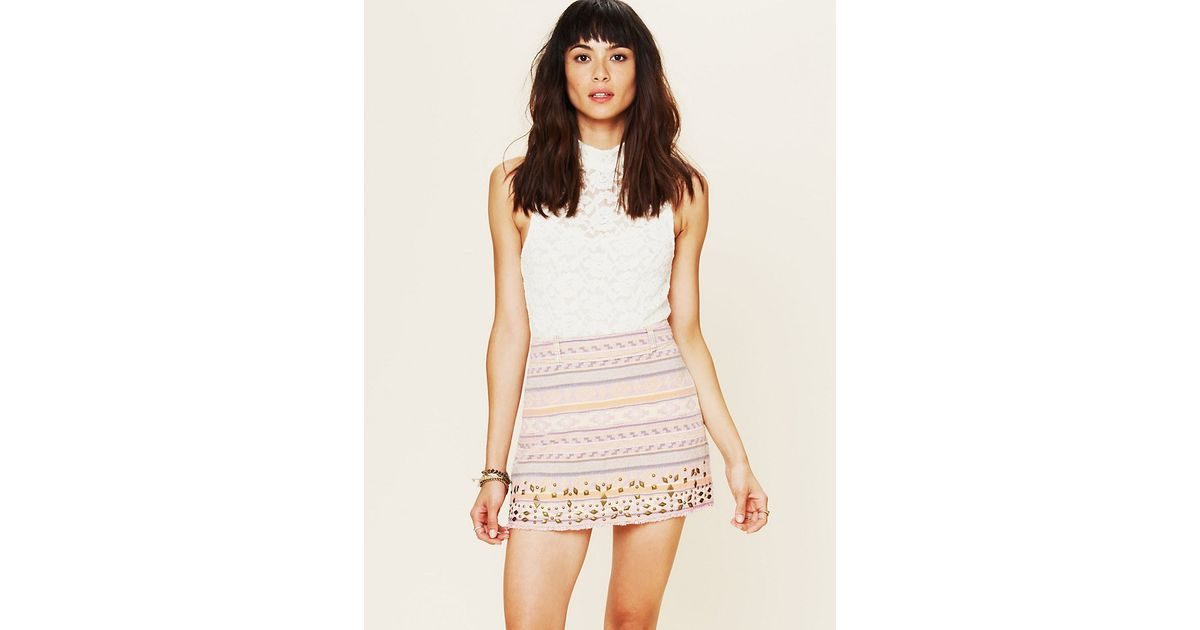 2c800cc51650 Lyst - Free People Jacquard Embellished Skirt in Pink