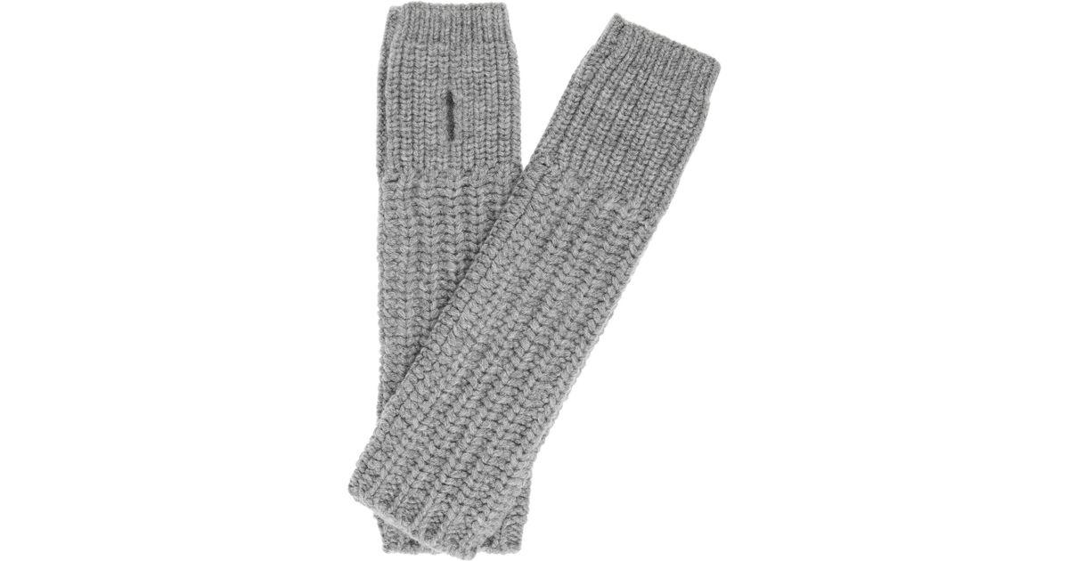 bf66dc01a Stella McCartney Chunkyknit Wool Arm Warmers in Gray - Lyst