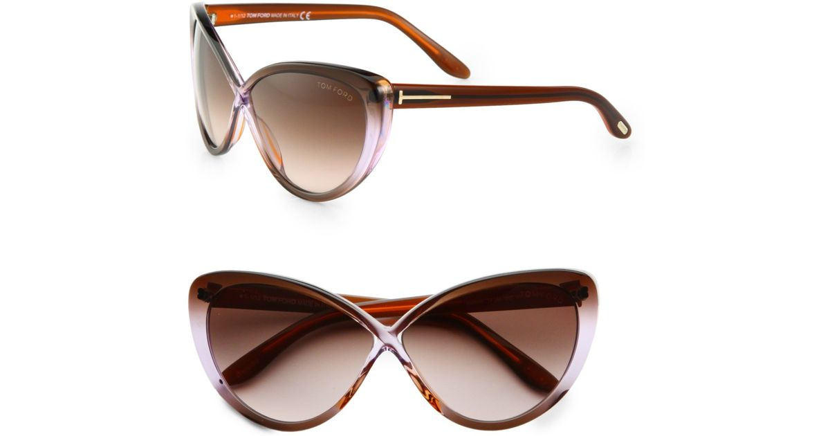 670ad92011 Lyst - Tom Ford Madison Crisscross Catseye Sunglasses in Brown