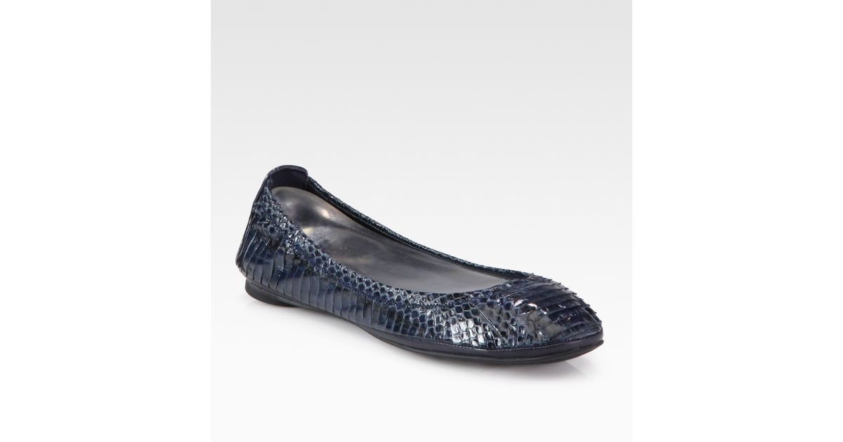 e99667bc8 Tory Burch Eddie Snake-Print Leather Ballet Flats in Blue - Lyst