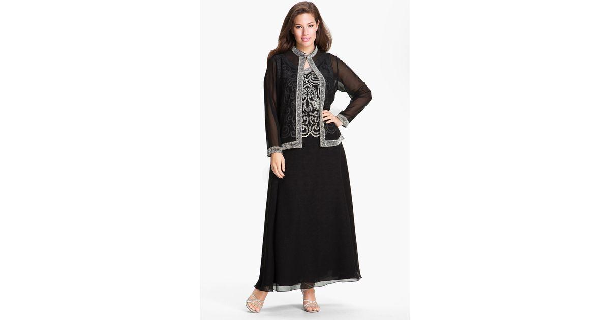 J Kara Beaded Chiffon Gown – fashion dresses