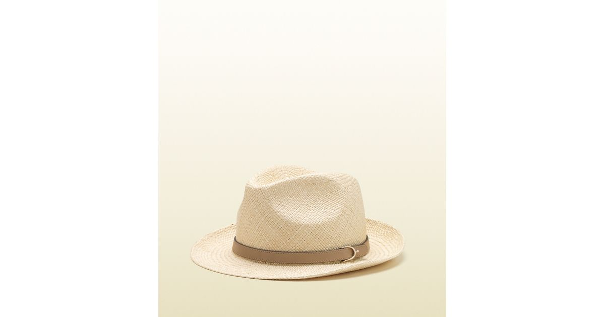 Lyst - Gucci Natural Straw Hat with Cream Leather Detail in Natural for Men f1bad2caad7e