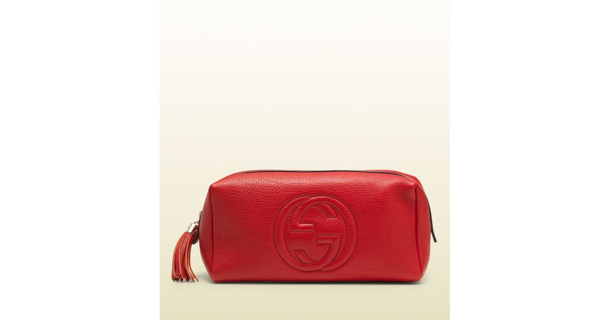 1fdc654591009 Lyst - Gucci Soho Large Red Leather Cosmetic Bag in Red