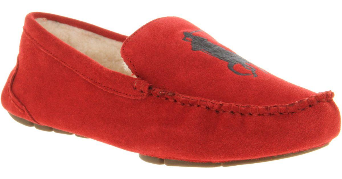 920f60119 Ralph Lauren Paulson Ii Slipper Crimson Red Suede Shearling in Red for Men  - Lyst