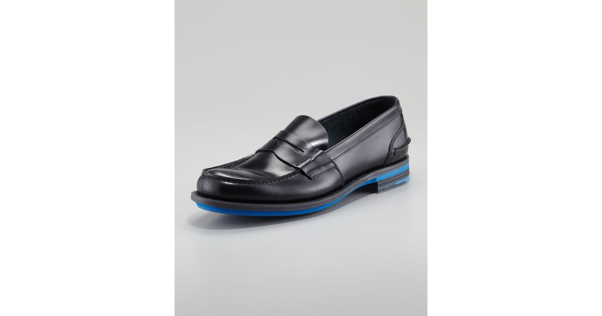 7488f9d294a Lyst - Prada Rubber Sole Penny Loafer in Black for Men