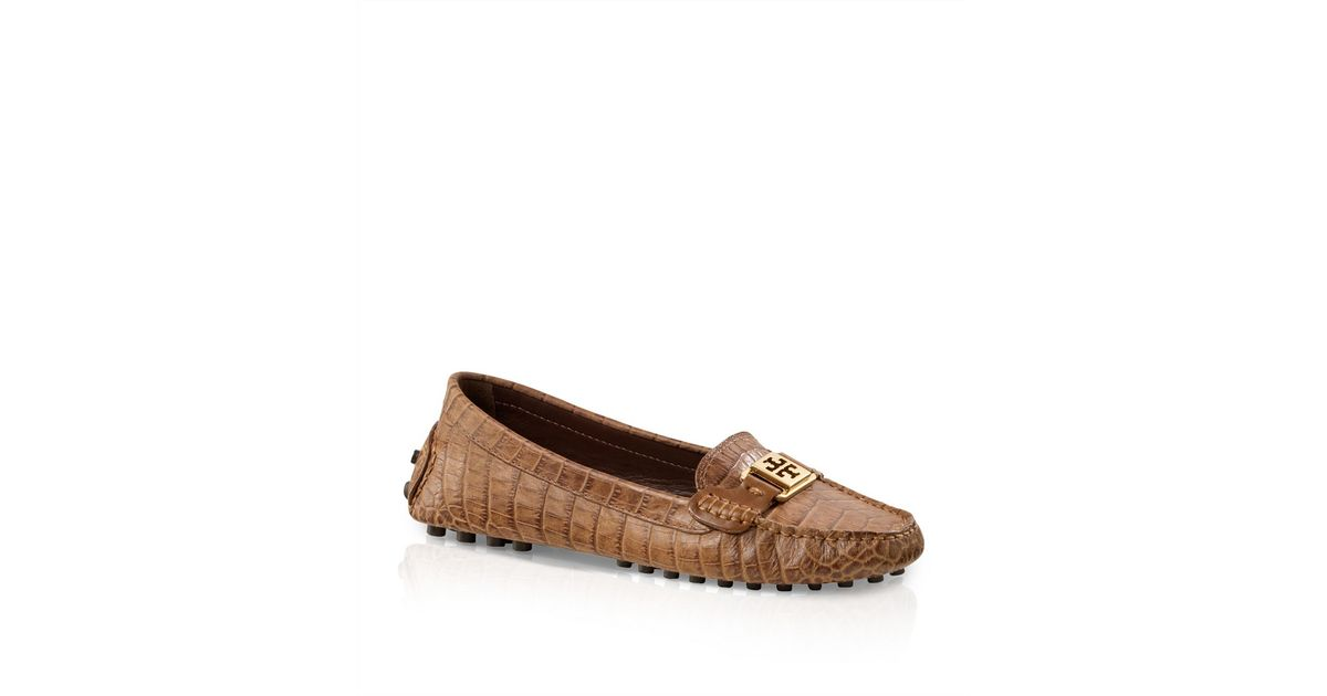 3ef65a33a03159 Lyst - Tory Burch Amazon Croc Print Kendrick Driver in Brown