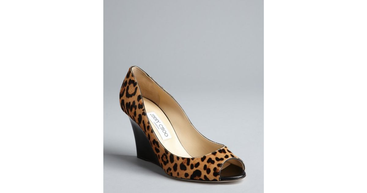 for sale official site clearance find great Jimmy Choo Leopard Print Peep-Toe Wedges IQ4qHUdzV