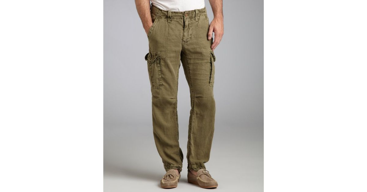 Tailor vintage Army Green Linen Cargo Pants in Green for Men | Lyst