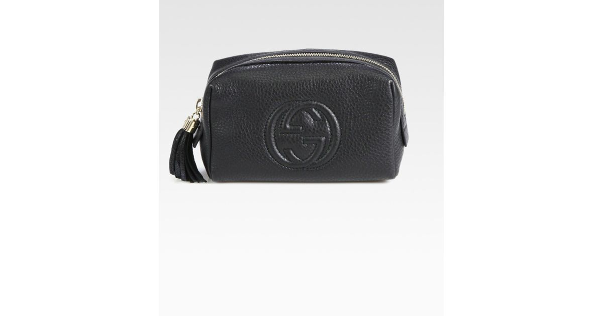 ca131a2802c Lyst - Gucci Soho Medium Leather Cosmetic Case in Black