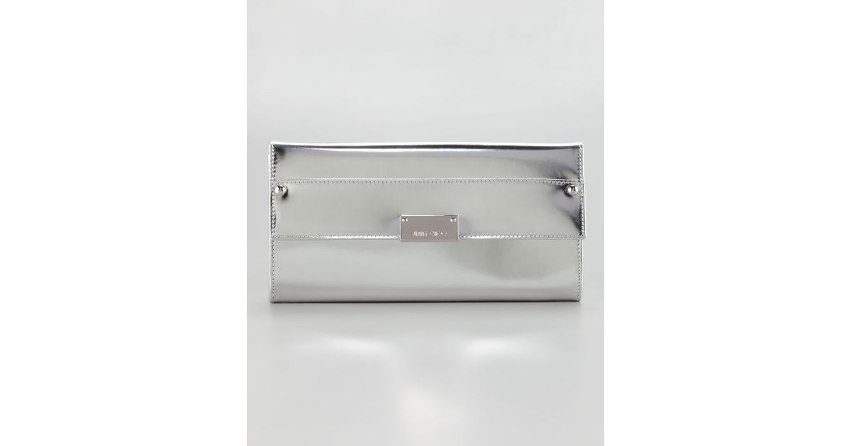 a09512077fc81 Lyst - Jimmy Choo Reese Metallic Leather Wallet Clutch Bag Silver in  Metallic