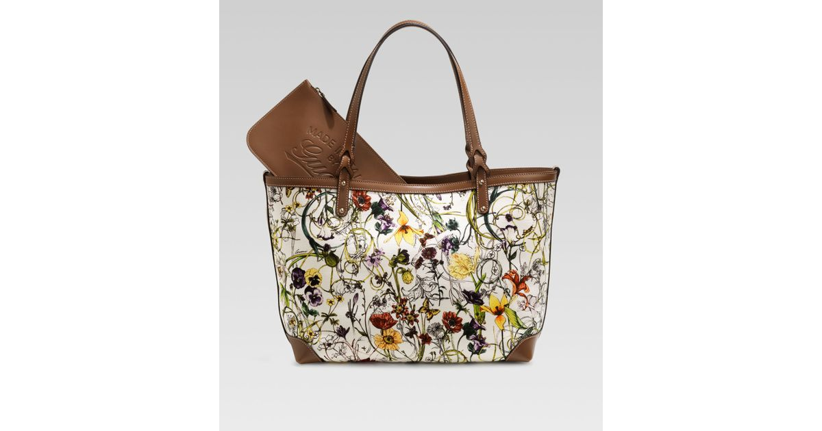 18dfa8d011d1 Gucci Craft Floral Canvas Tote in Brown - Lyst