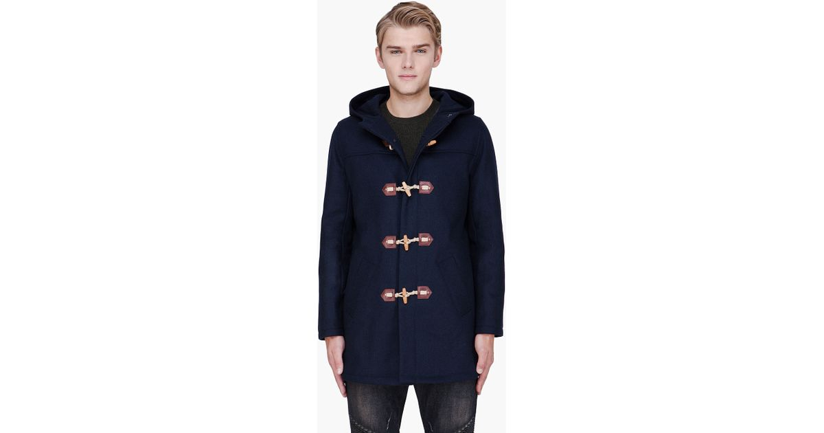 A.p.c. Blue Wool Classic Duffle Coat in Blue for Men | Lyst