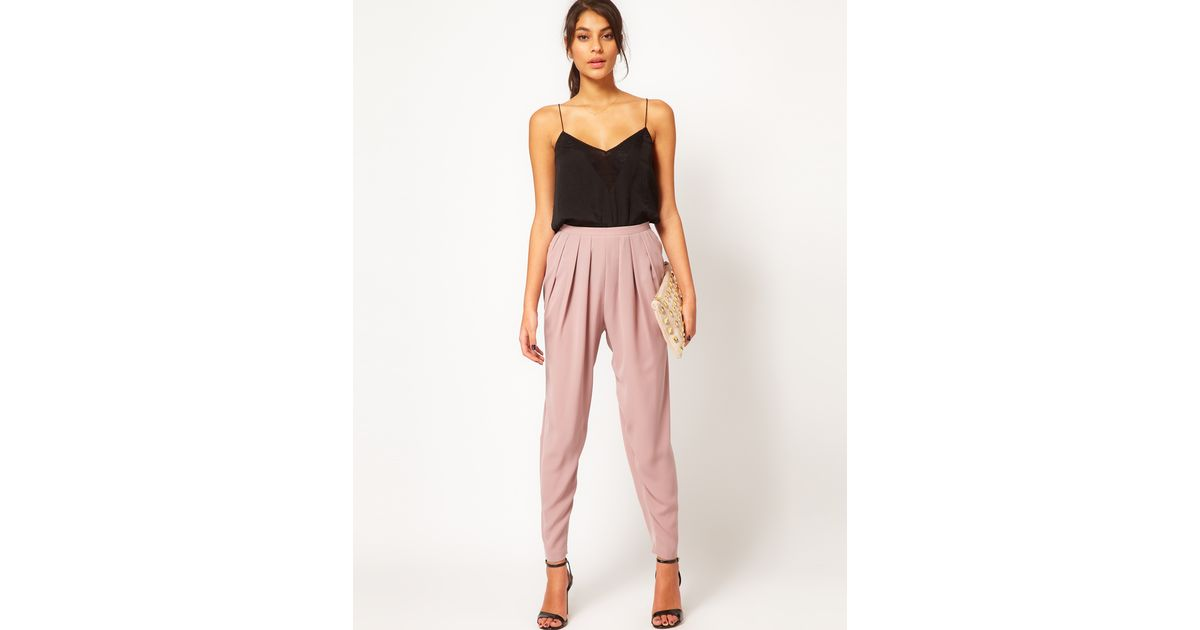 0f9a1d1f5b01 ASOS Collection High Waisted Peg Trouser in Pink - Lyst