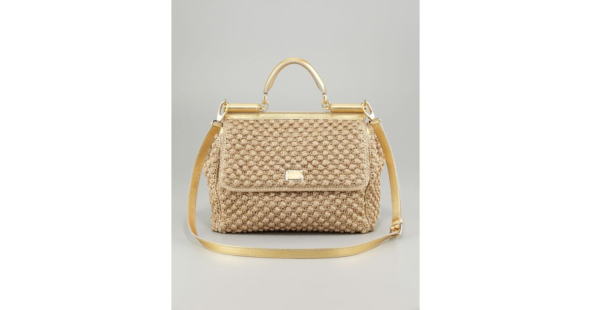 c518ffaf7035 Lyst - Dolce   Gabbana Miss Sicily Metallic Crochet Flap Bag in Metallic