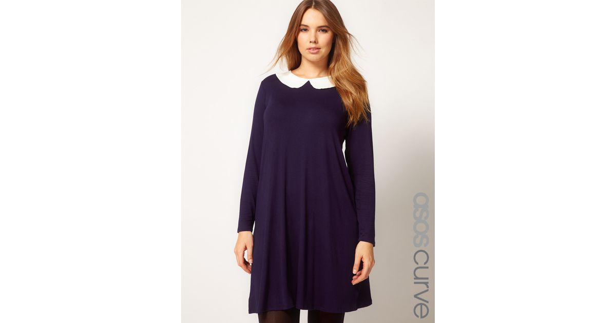 Asos Swing Dress with Peterpan Collar in Blue - Lyst 52304e60d