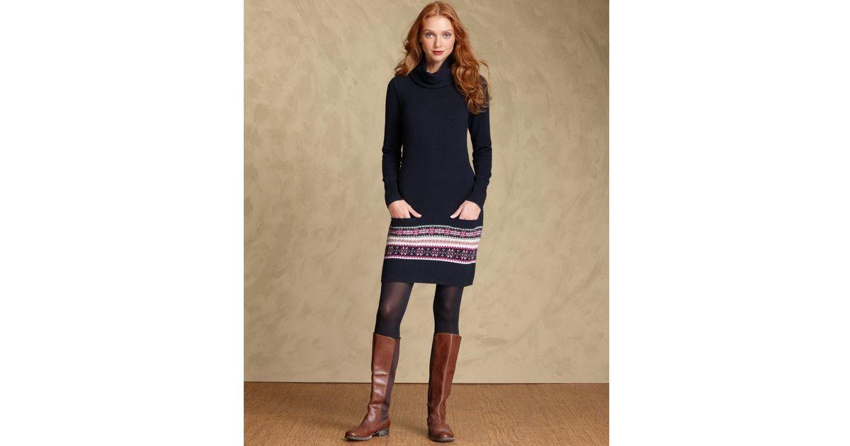 Lyst - Tommy hilfiger Long Seeve Fairisle Sweater Dress in Blue
