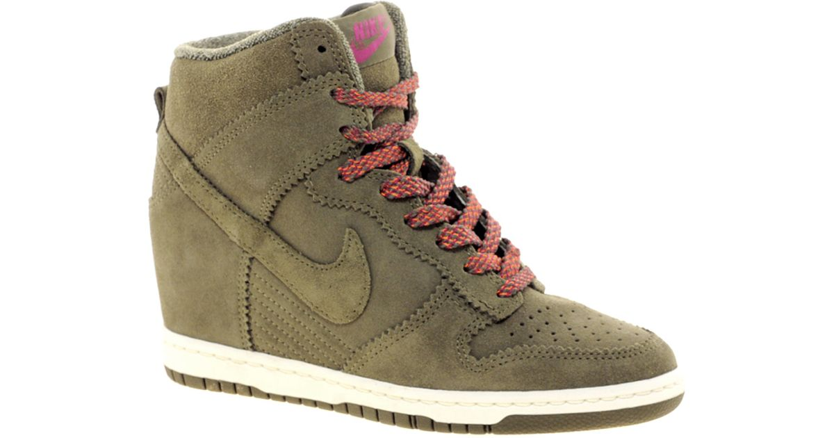 2baf26bcd678 Lyst - Nike Dunk Sky High Olive Wedge Trainers in Natural