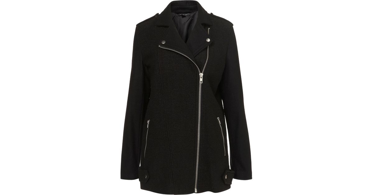 Topshop Boiled Wool Biker Coat in Black | Lyst