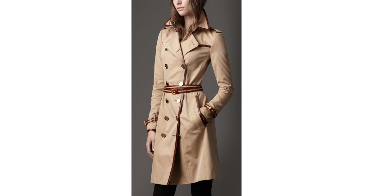 9e14c1dfc52a8f Burberry Long Cotton Gabardine Leather Detail Trench Coat in Natural - Lyst