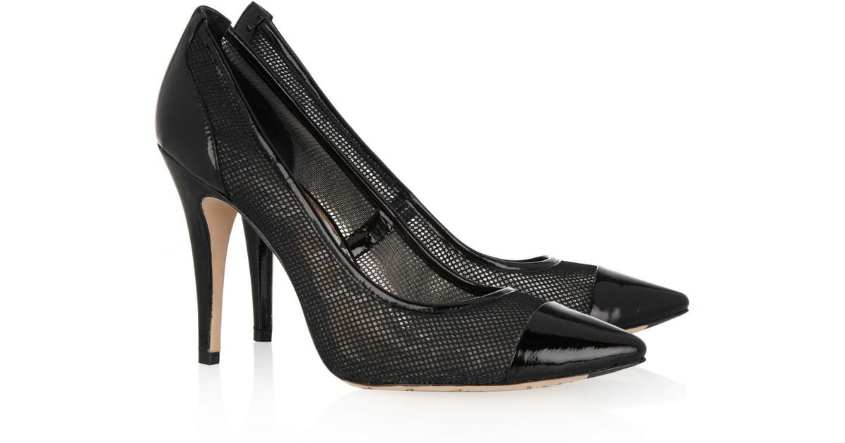 f045c71299f Lyst - Sam Edelman Meadow Patentleather and Mesh Pumps in Black