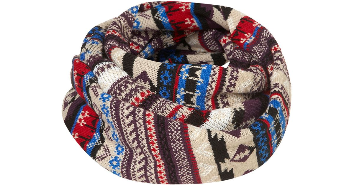 Topshop Aztec Fairisle Snood in Blue | Lyst