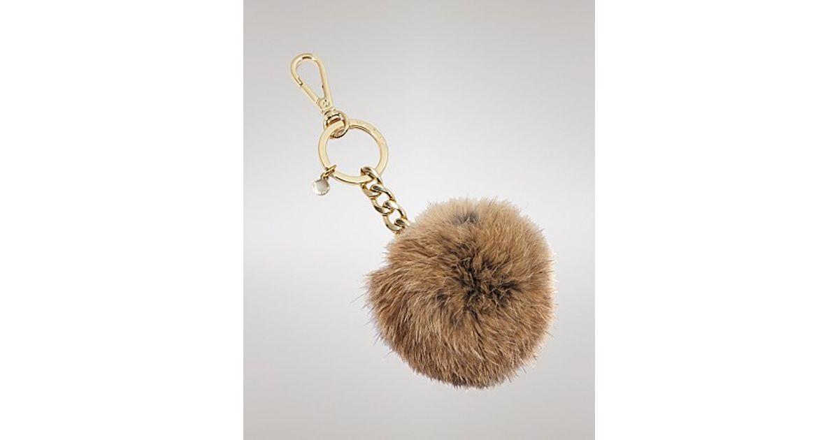 Lyst - Michael Kors Michael Key Chain Fur Pom Pom in Brown ea87e5610
