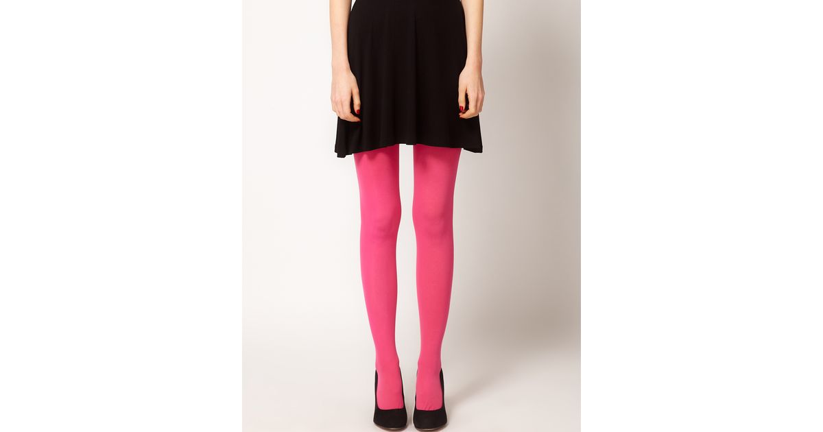3576dfe8d3458 ASOS 80 Denier Opaque Tights in Pink - Lyst