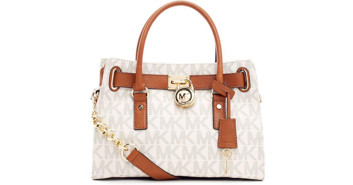 673a33535b58 Lyst - MICHAEL Michael Kors Hamilton Logo Satchel Bag in Brown