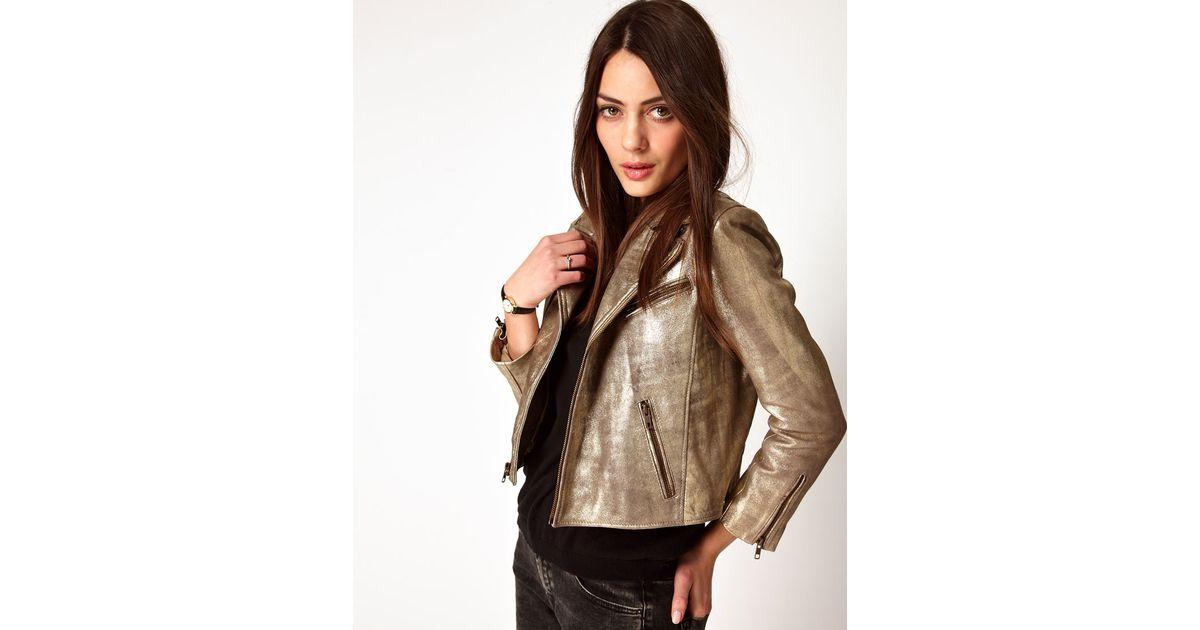 8f54aeaffa4 Ganni Leather Biker Jacket in Gold in Metallic - Lyst