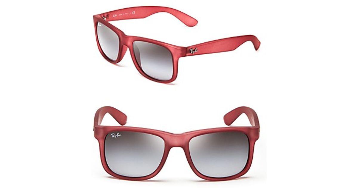 0697415550603 Lyst - Ray-Ban Rubberized Modified Wayfarer Sunglasses in Red for Men