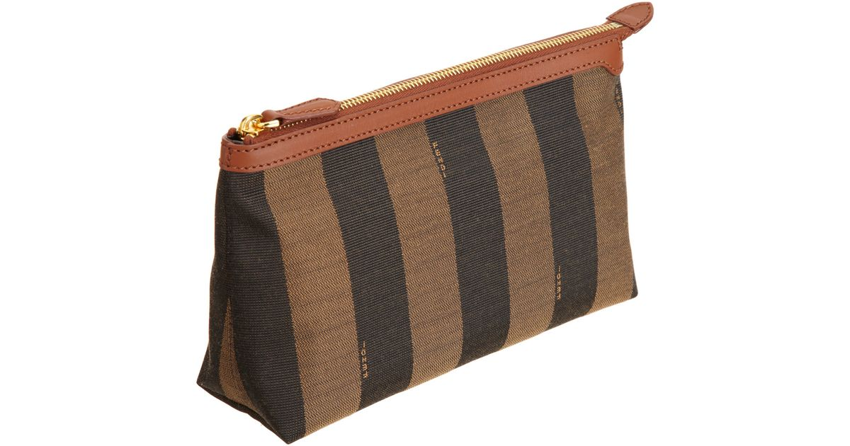 79d07f8850 Fendi Pequin Large Cosmetic Bag in Brown - Lyst