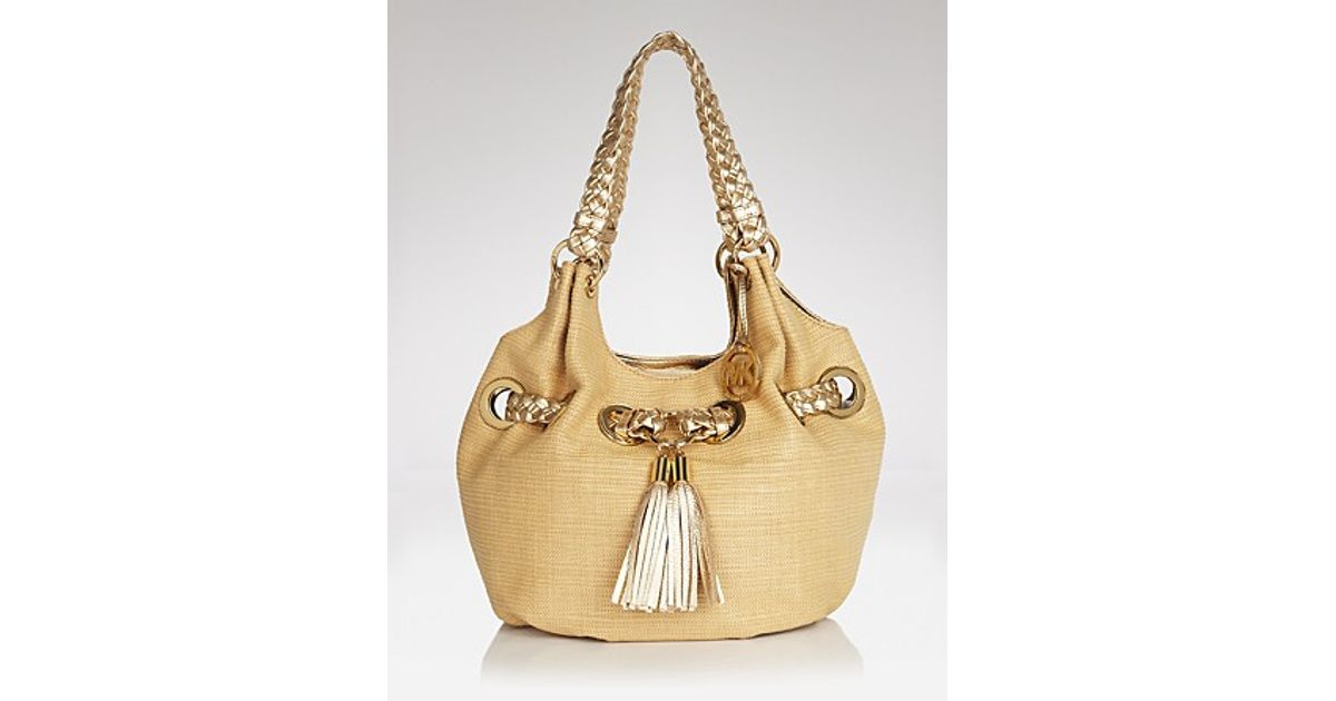 0733fe2687bb Michael Kors Michael Shoulder Bag Braided Grommet Large in Metallic - Lyst